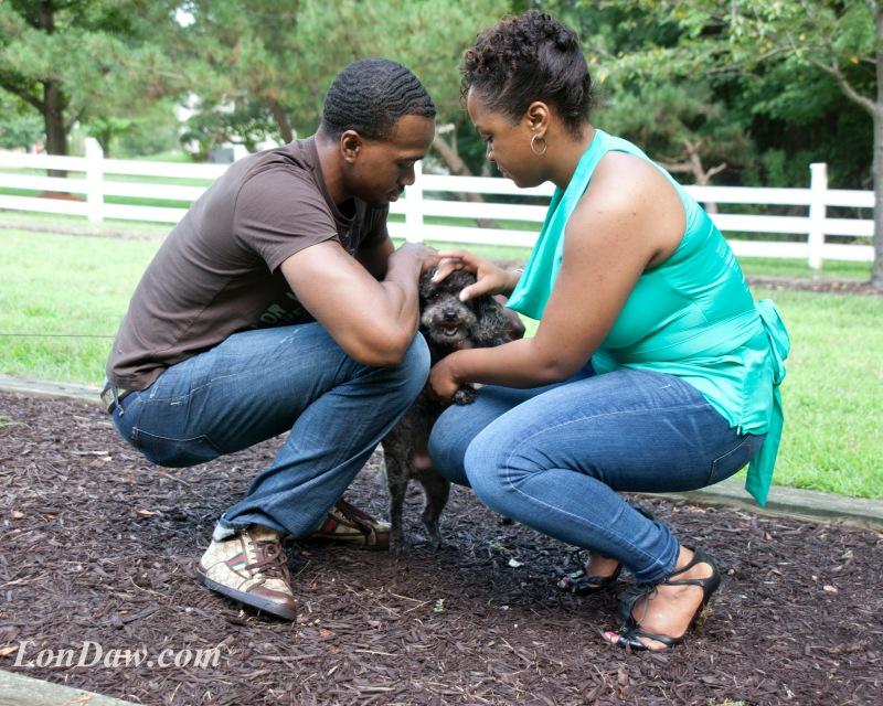 engaged-couple-pet-dog